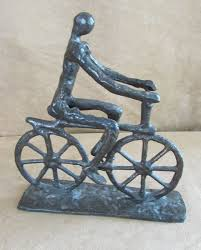 bicycle cast iron man riding figure sculpture 9