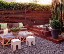 bathroom backyard with bamboo and container plants also