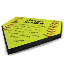 softball personalized thanks coach home plate plaque chalktalksports