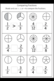 comparing fractions worksheets 3rd grade math
