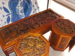 hand carved coffee table the battle scene carved on these tables shows great detail with