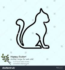 web line icon silhouette cats cat stock vector 404924038