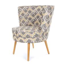 Retro Accent Chair Milly Grey Print Barrel Chair Armchair Accent Chair Home Furniture