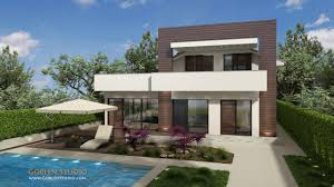 architectural visualization modern house in suburbs