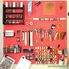 honest sewing room tour supply pegboard love you sew