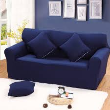 compare prices on sofa slipcovers online shopping buy low price solid blue color universal sofa cover for single double three four seater reclining sofa slipcover elastic
