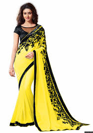 fabulous yellow sequence georgette saree