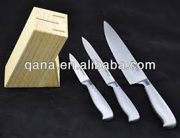 Best Selling Kitchen Knives Qana Best Selling Stainless Steel Wooden Stand 3pcs Knife Set