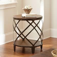 round wood and metal side table round metal coffee table writehookstudio com
