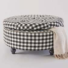 Plaid Ottoman Black Check Storage Ottoman From Country Door Nw752774