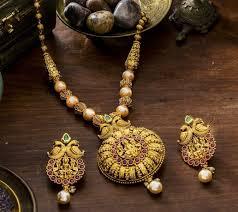 gold antique necklace sets images 1 gram gold antique finish semipolished ruby emerald pendant set jpg