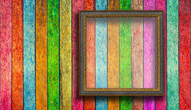 blank wood frame on colorful wood wall background stock image