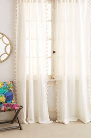 Curtains With Pom Pom Trim Pom Tassel Curtain Lobbies Tassel Curtains And Anthropologie