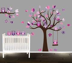 Tree Wall Decals For Nursery Floral Pink And Purple Owl Wall Decal Nursery Tree Decals For