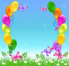flowers and balloons meadow grass sky flowers and balloons royalty free cliparts