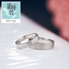 wedding bands sets his and hers silver age couples rings brushed flat wedding bands set unique