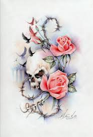 skull roses and barbed wire design in 2017 photo