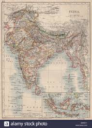 Nepal India Map by British India Showing States Burma Nepal Bhutan Ceylon Johnston