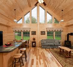 Interior Of Log Homes by Modular Log Cabin Homes Mountaineer Deluxe Great Room Dream