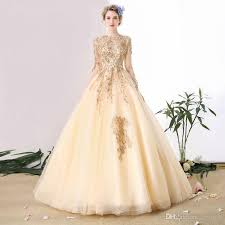 bridal websites discount 2018 chagne sleeve wedding dresses with gold lace