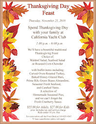 thanksgiving day menus thanksgiving day dinner 11 25 2010 california yacht club