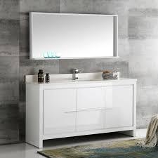 60 Inch Bathroom Vanity Single Sink by Fresca Allier White 60 Inch Modern Single Sink Bathroom Vanity