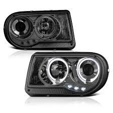 chrysler 300c black 05 10 chrysler 300c dual halo u0026 led projector headlights smoked