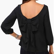 big bow blouse fashion womans bow blouse lower back shirt with bow tie