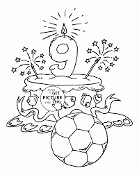 happy 9th birthday cake coloring page for kids holiday coloring
