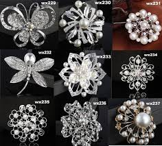 hair brooch design glitter diy flower leaves design brooch with pearl bridal