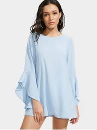 light blue shift dress flare sleeve mini shift dress light blue casual dresses s zaful