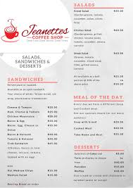lunch u0026 dinner jeanettes winter menu