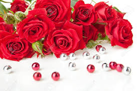Red Rose Bouquet Red Roses Bouquet And Beads On White Background Stock Photo