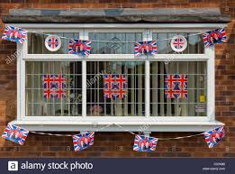 Bunting Flags Wedding House Decorated With Union Jack Flags And Royal Wedding Bunting