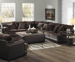 classic living room design with brown leather couch living room