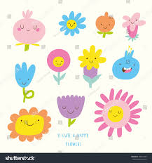 cute vector set flowers icons funny stock vector 308012453