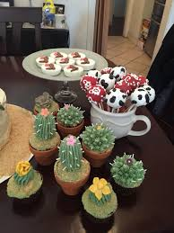 wild west party desserts succulents cupcakes cactus cake pops