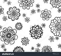 cute abstract flowers random pattern hand stock illustration