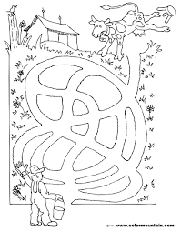 cow maze activity coloring sheet create a printout or activity