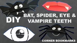 halloween bookmarks 4 diy halloween corner bookmarks vampire teeth eye bat u0026 spider