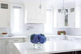 White And Gray Marble Chevron Kitchen Backsplash Tiles Design Ideas - Marble backsplash tiles