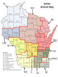 Printable Map Of Wisconsin by Wfda District Map Wisconsin Funeral Directors Association