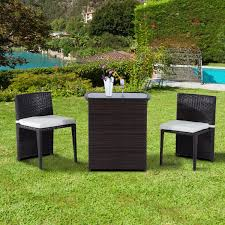 Patio Furniture Bistro Set - outsunny 3 piece chair and table rattan wicker patio nesting