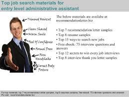 Entry Level Administrative Assistant Resume Sample by Entry Level Administrative Assistant Recommendation Letter