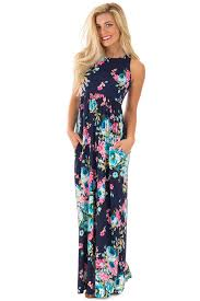 floral maxi dress navy floral print racerback maxi dress with side pockets for sale