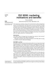iso 9000 marketing motivations and benefits pdf download available