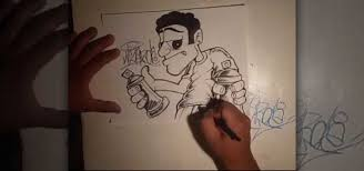 how to draw a cool graffiti character and spraycans graffiti