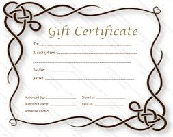 formal gift certificate template