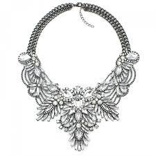 bib necklace metal images Diagolos crystal stone cluster statement bib necklace jpg