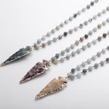 necklace stone bead images Moodpc fashion amazonite stones rosary chain arrowhead pendant jpg